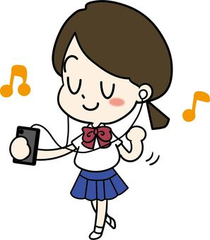 Girl listening to music on smartphone