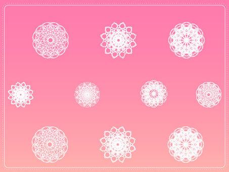 花邊圖案粉紅色漸變