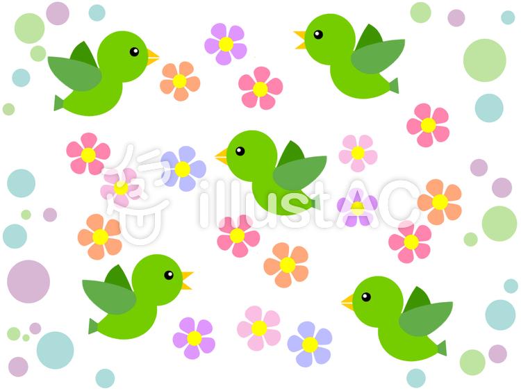 小鳥と花模様の背景イラスト可愛い壁紙素材イラスト No 1122452無料