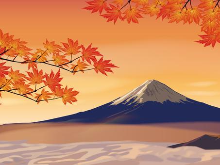 Fuji and autumn leaves