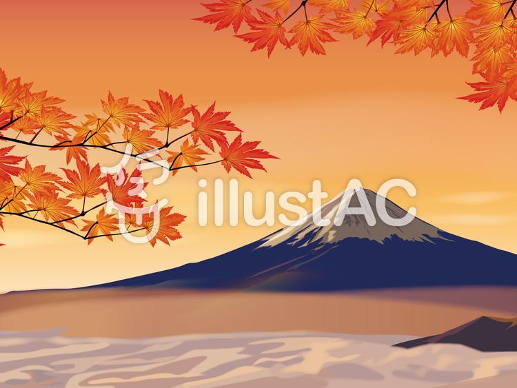 富士山と紅葉のイラスト
