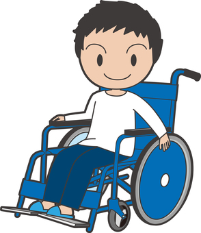 A boy on a wheelchair