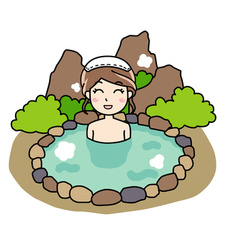 A woman enjoying a natural outdoor bath