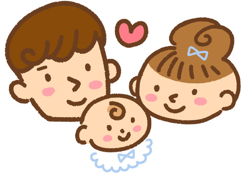 Illustration of a smiling dad mom baby
