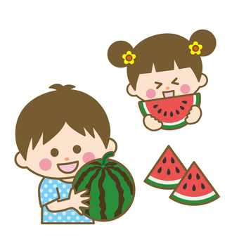 Watermelons and children