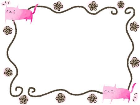핑크 고양이와 갈색 프레임