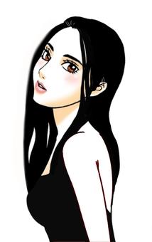 Une femme avec une robe noire