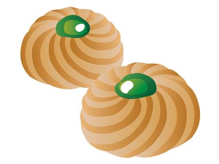 쿠키 잼 얹어 녹색