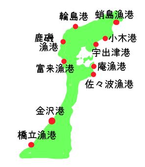 Noto fishing port map