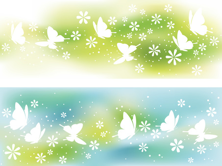 Two pieces of illustrations of a springless background illustration