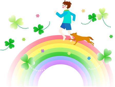 A boy and a dog crossing a rainbow