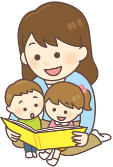 Parents and children _ Let's read a picture book (2 children)