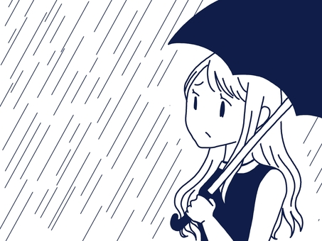 A woman holding an umbrella (with rain background)