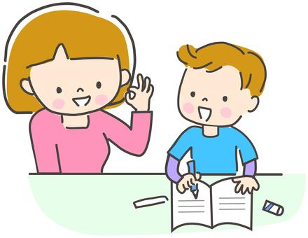 勉強する子供と教える母親