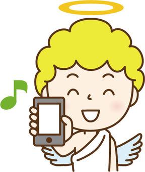 Angel B showing a smartphone B