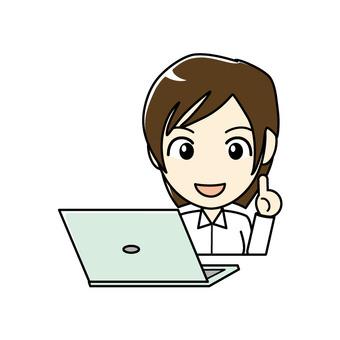 ブログ向け-パソコンと女性 笑顔で解説