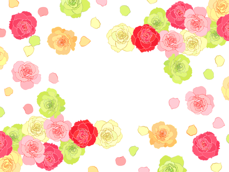 Rose rain and flower snowstorm frame -06 (no frame)