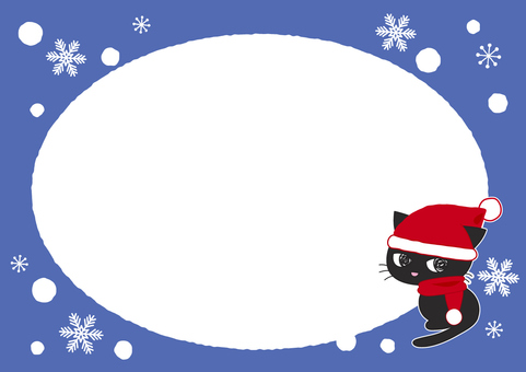Black cat and snow frame 1