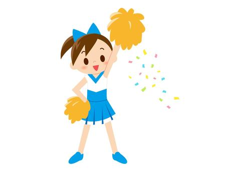 Cheerlead - one hand raised light blue color (no line)