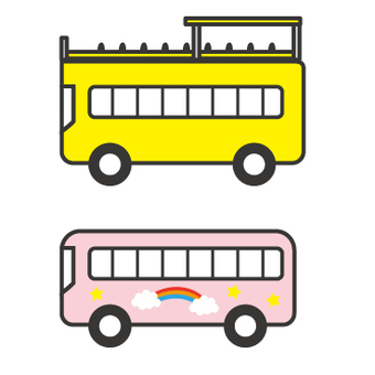 Sightseeing bus and kindergarten bus