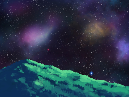 Mountains and starlit sky 1