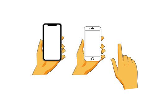 拿著智能手機的手