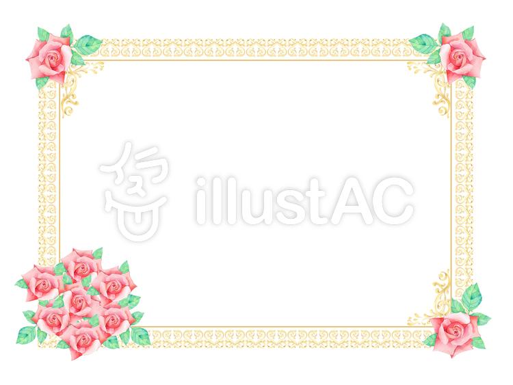 バラの枠 ★0377-Rのイラスト