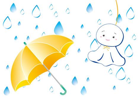 Rain and an umbrella holding a buddy