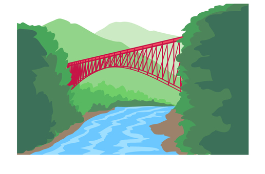 Scenery with a red iron bridge