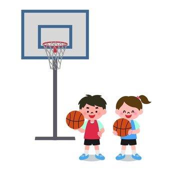 男孩和女孩的籃球