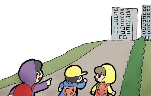 Evacuation to high tsunami place
