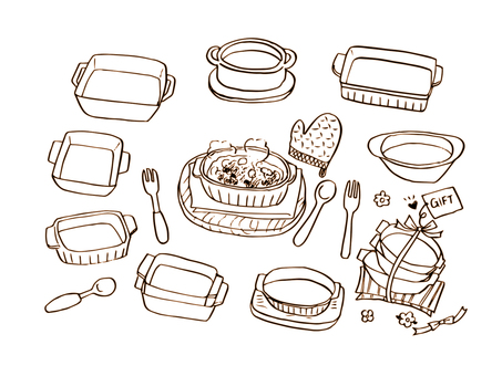 Gratin and baking dish (line drawing)