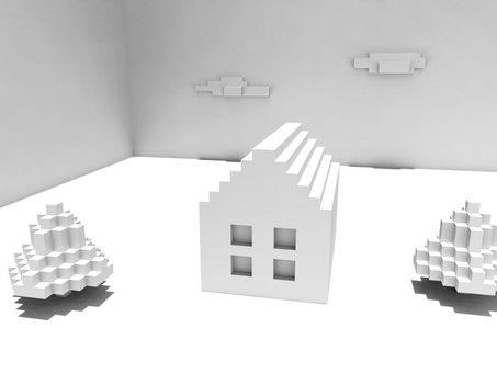 블록의 집 CG 소재