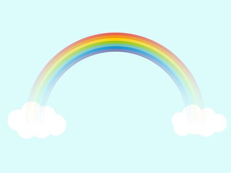간단한 무지개와 구름 7 색 그라데이션