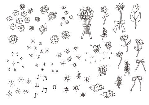꽃과 반짝이 소재