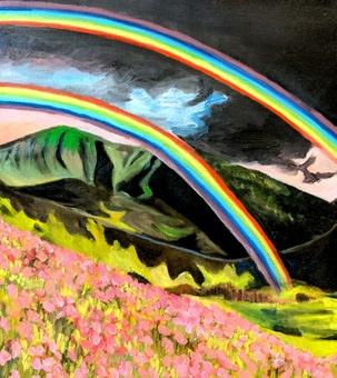 Rainbow and flower field