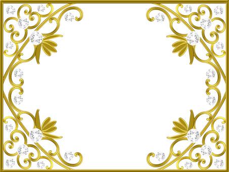 Luxurious gold diamond frame