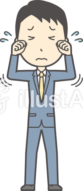 スーツ男性ネイビー-354-全身のイラスト