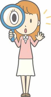 Young lady - magnifying glass - whole body