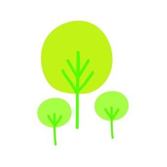 Scandinavian trees (yellow green, round, multiple)