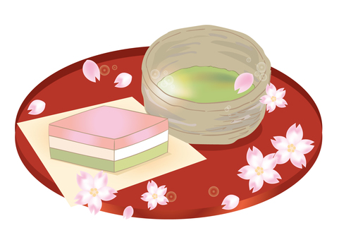 Cherry blossoms and rice cake