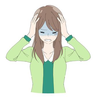 Long hair female illustration 01 (holding a head)