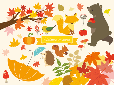 Autumn animals and plant illustration (5)