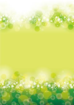 Full circle of fresh green sparkling vertical light radiation present