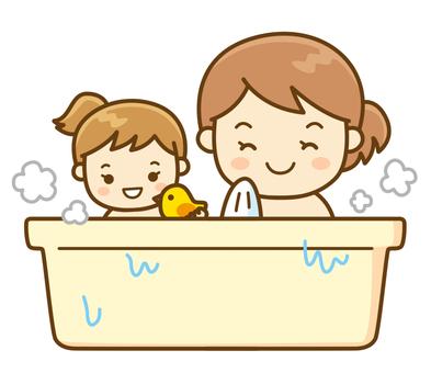 Parent and child entering the bath