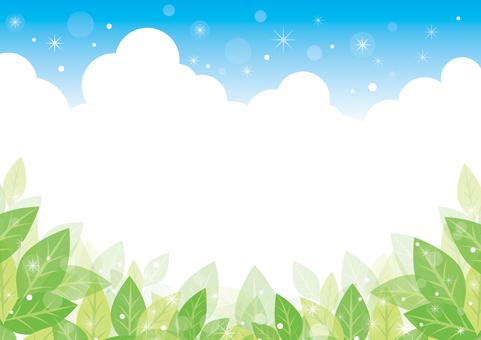 緑の葉と青空の背景01