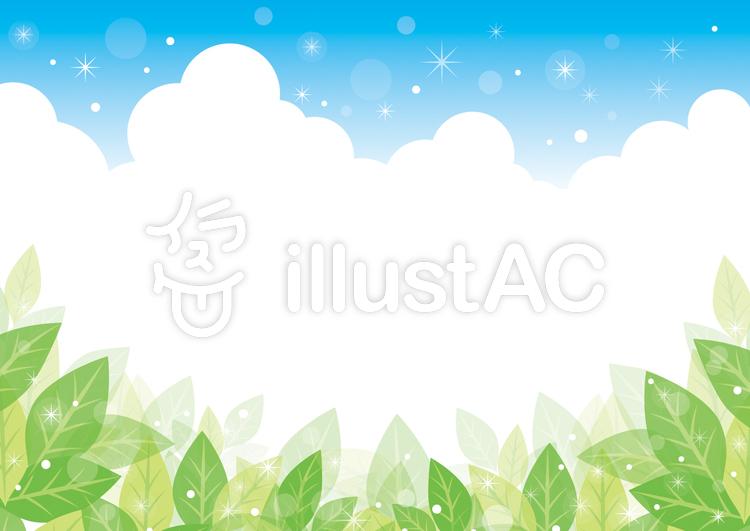 緑の葉と青空の背景01のイラスト