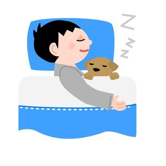 A man sleeping with a dog