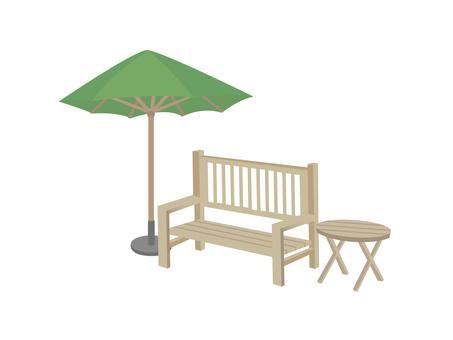 Gardening bench and parasol