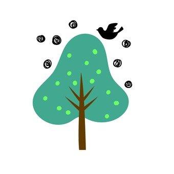 조류와 푸른 나무